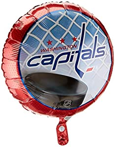 "Anagram International Washington Capitals Foil Flat Party Balloons, 18"", Multicolor"