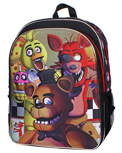Five Nights At Freddys 3d Molded Freddy Foxy And Chica 16 Backpack