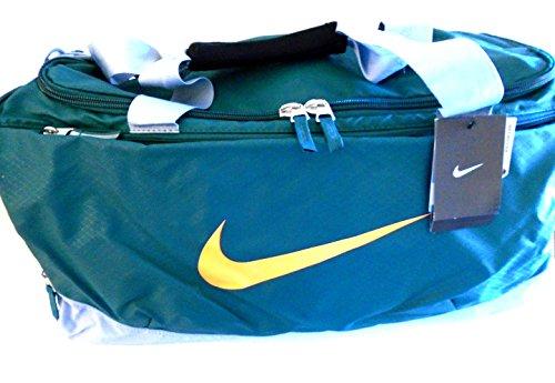 NIKE Max Air Vapor II Team Training Duffle Bag Gym Gear Travel Luggage Sport Tote (Emerald Hunter Green/Cool Grey Team Max Orange Shoulder Gel And Signature Swoosh Logo