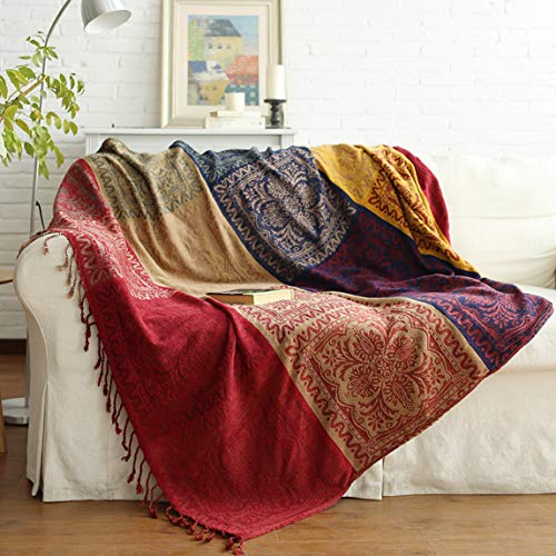 Vonty Chenille Bohemian Throw Blanket with Tassels Decorative Tribal Throw Blankets for Sofa Couch, Bed, Table Cover (Red & Yellow, 60
