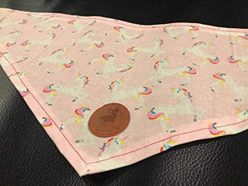 """Hand Made in the USA Cat, Pet, or Dog Bandana in Pink and Rainbow Pride Unicorn - Medium 27"""" Only"""