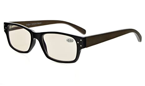 eb7c76c4e377 Eyekepper Spring Hinges Wood Arms Computer Reading Glasses Men Women Amber  Tinted Lenses Black +3.5