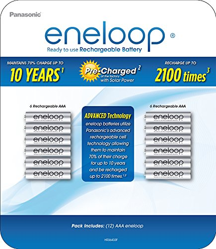 Panasonic BK-4MCA12BCZ eneloop AAA 2100 Cycle Ni-MH Pre-Charged Rechargeable Batteries (Pack of 12)