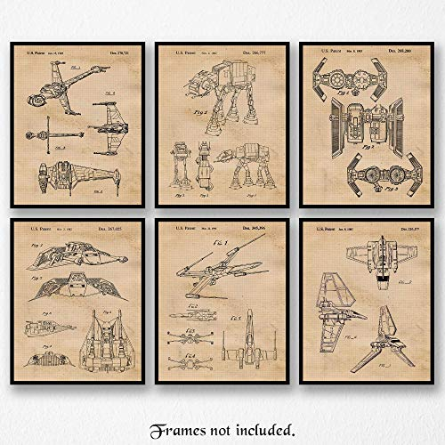 Original Star Wars Vessels-Vehicles Patent Art Poster Prints - Set of 6 (Six 8x10) Unframed - Great Wall Art Decor Gifts Under $25 for Home, Office, Studio, Garage, Man Cave, Teacher, Movies Fan