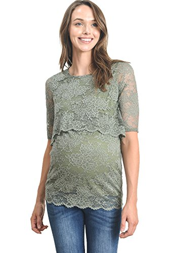 Hello MIZ Women's Floral Lace Double Layered Breastfeeding Nursing Top