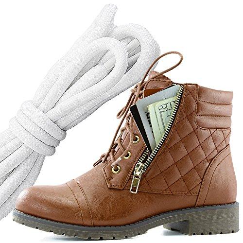 Botas Militares De Encaje Con Cordones Para Mujer DailyZapatos Botas Altas De Tobillo Con Bolsillo Exclusivo Para Tarjetas De Crédito, Blanco Y Negro Pu