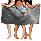 KTMB Cat Blue Eyes Gray Pet Animal Washable Extra Large Bath Beach Towel Soft Personality Towel