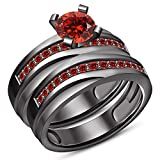 TVS-JEWELS Black Plated 92 Sterling Silver Round Cut Red Garnet Wedding His And Her Bridal Ring Set (11.5)