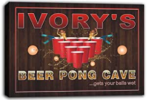 scqr1-0890 IVORY'S Beer Pong Cave Bar Game Stretched Canvas Print Sign