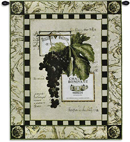 Grapes and Labels IV | Woven Tapestry Wall Art Hanging | Vintage French Winery Grape Merlot Artwork | 100% Cotton USA Size 33x27