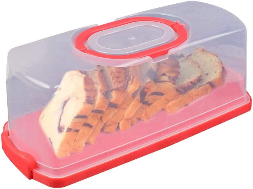 Portable Bread Box with Handle Loaf Cake Container Plastic Rectangular Food Storage Keeper Carrier 13inch Translucent Dome for Pastries, Bagels, Bread Rolls, Buns or Baguettes (Red)