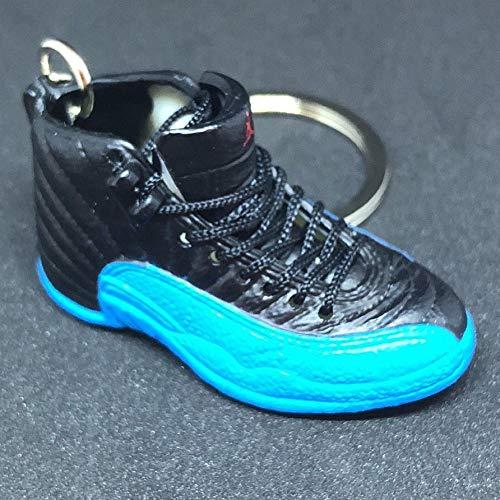 Air Jordan XII 12 Retro Gamma Blue Black OG Sneakers Shoes 3D Keychain 1:6 Figure (Jordan Shoes Men Gamma Blue)