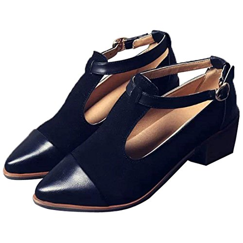Susanny Women's Vintage Cute T-Strap Low Heel Pointed Toe Black Oxfords Pump Shoes with Buckle 7 B (M) US