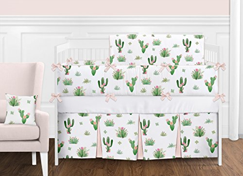 Pink and Green Boho Watercolor Cactus Floral Baby Girl Crib Bedding Set with Bumper by Sweet Jojo Designs  9 pieces