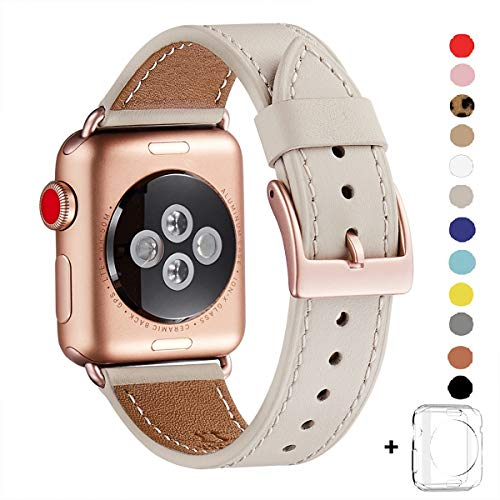 WFEAGL Compatible iWatch Band 38mm 40mm, Top Grain Leather Band Replacement Strap for iWatch Series 4,Series 3,Series 2,Series 1,Sport, Edition (38mm 40mm)