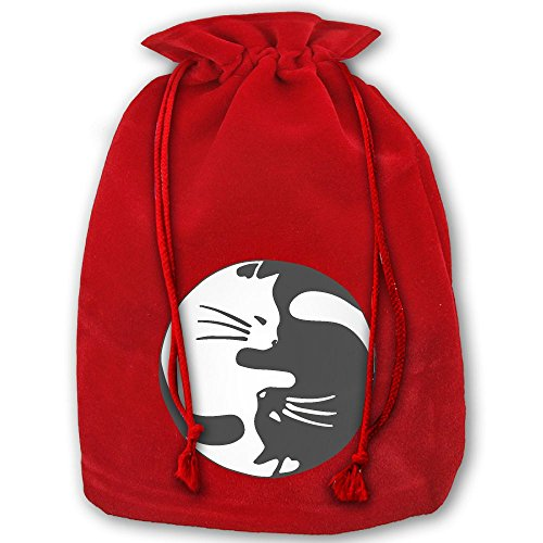 Yin And Yang Cute Cats Red Christmas Drawstring Bags / Santa's Trouser Bag/ Christmas Gift (Bag Yang)