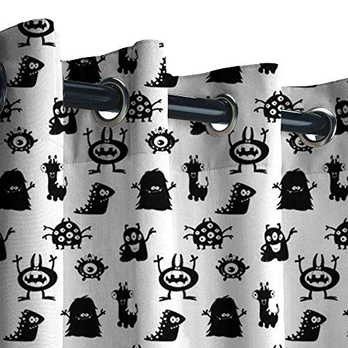 Thermal Outdoor Curtains Window Drape, Alien Monochrome Monster Silhouettes Childish Drawings of Otherworldly Beings Halloween 3D Printed Pattern Curtains Drapes ( Black White, 84 x 84 Inches ) -