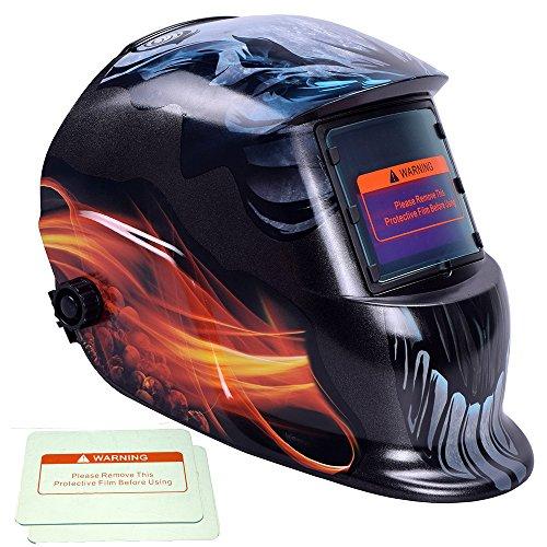 iMeshbean® Lightning Skull Design Hood Solar Auto Darkening - Welding Helmets Lightning