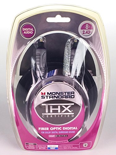 Price comparison product image Monster Standard THXI100-FO-8 THX Certified Toslink Fiber Optic Digital Audio Cable For Dolby Digital Surround Sound (8 feet, 8 Ft)