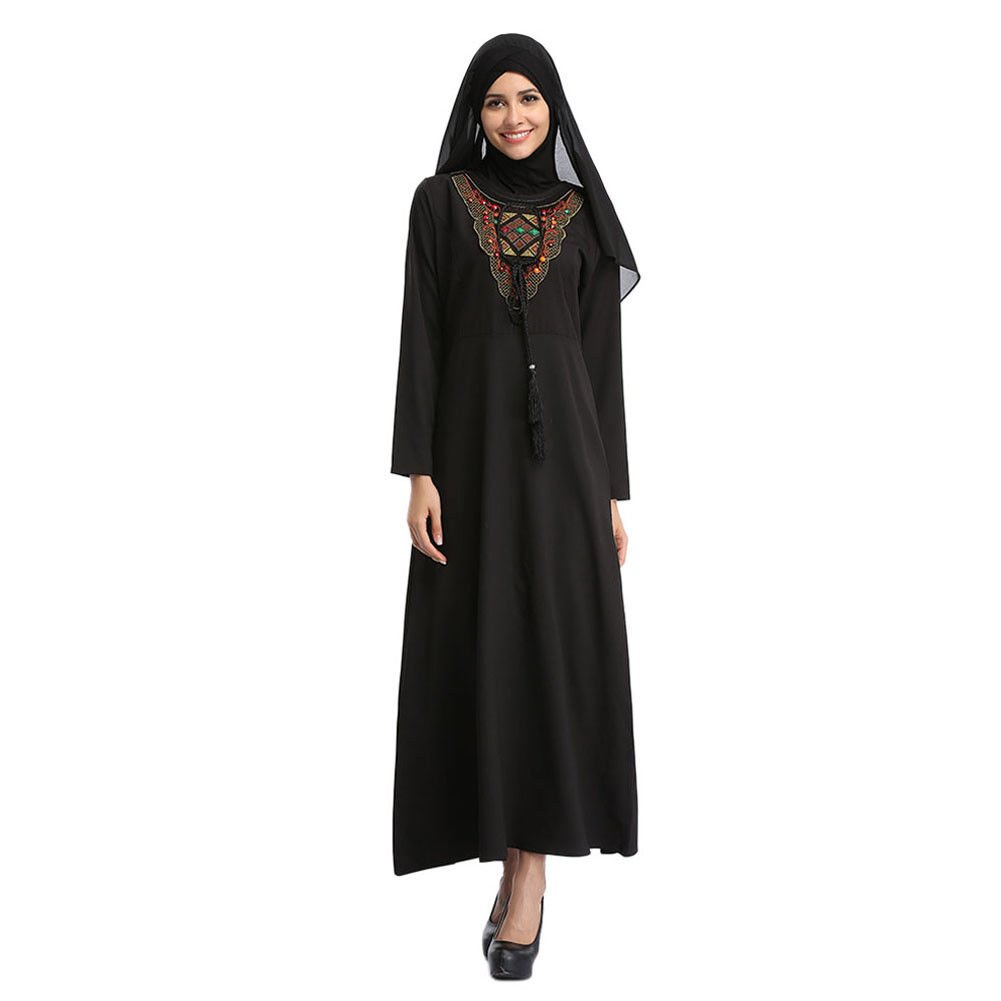 Haodasi Muslim Women Embroidery Islamic Turkey Malaysia Long Sleeve Kaftan Ethnic Clothing Arab Dubai Maxi Dress Wedding Cocktail Gown Loose Robe Abaya: ...