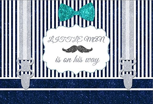 (Yeele 5x3ft Little Man Baby Shower Backdrop Blue And White Stripes Mustache Gentleman Boy Photography Background Party Banner Decor Children Portrait Photo Booth Shooting Studio Props Wallpaper)