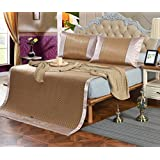 New Summer Mat Three-piece Double-sided Ice Rattan Seat 1.5 Meters Bed 1.8 Meters Bed Folding Air-conditioned ZXCV (Color : 3, Size : 150200cm)