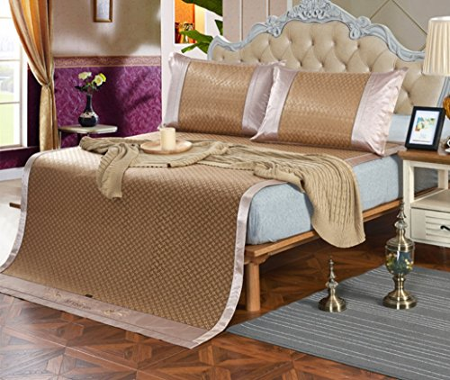 New Summer Mat Three-piece Double-sided Ice Rattan Seat 1.5 Meters Bed 1.8 Meters Bed Folding Air-conditioned ZXCV (Color : 3, Size : 180200cm) by BEIRU