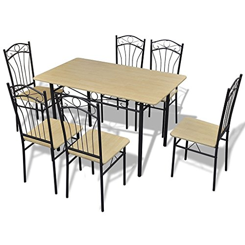 Apogee Life Light Brown Dining Room Set 7 Piece Kitchen Set Table 6 Chairs
