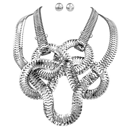 Gypsy Jewels Chunky Big Bold Statement Unique Funky Large Necklace & Earrings Set (Silver Tone Flat Chain Braided)
