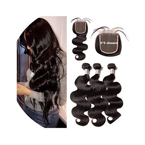 Brazilian 5x5 Lace Closure With Bundles Body Wave Hair Weave Bundles With Lace Closure 100% Human Hair Full Head Non Remy,10 10 10 & Closure10,Middle Part