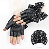 Brand New Rivet PU leather large bow nightclub dance dance performances and a half finger gloves