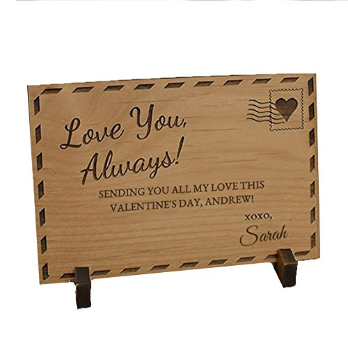 Engraved Valentines Day Love You Always Wood Postcard, 5 1/2