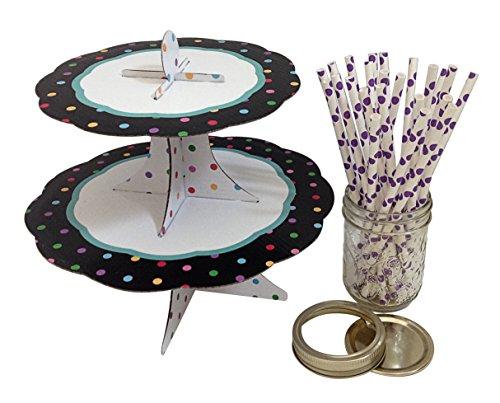 Cupcake Stand Purple Straws Polka Dot with Glass Jar