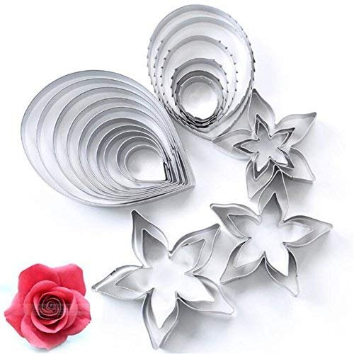 23pcs/lot Rose shaped Cookie Cutter, Stainless Steel Pastry Biscuit Cutter, Cake Mold, Dessert Pastry Chocolate Cupcake Soap Baking Mould, Petal Calyx Leaf Fondant Baking ()