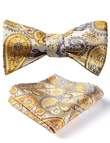 HISDERN Men's Paisley Jacquard Wedding Party Self Bow Tie Pocket Square Set One Size Yellow / Gray