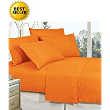 Elegant Comfort 3-Piece Bed Sheet Set With Deep Pockets, Twin Vibrant Orange
