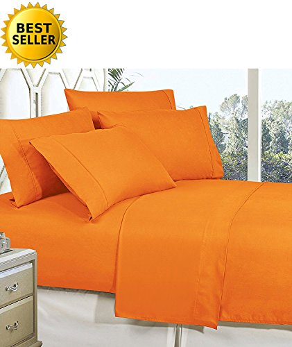 Celine Linen Best, Softest, Coziest Bed Sheets Ever! 1800 Thread Count Egyptian Quality Wrinkle-Resistant 4-Piece Sheet Set with Deep Pockets 100% Hypoallergenic, Queen Vibrant Orange -