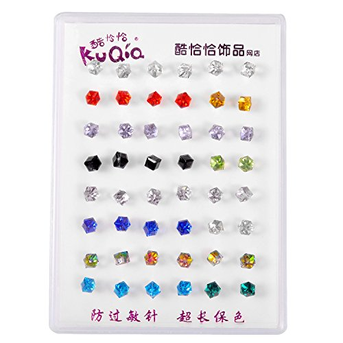 - Lux Accessories Multicolored Assorted Birth Stones Set of 24 Pairs Earrings