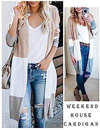 Abrigo largo boho ligero de punto para mujer, parte delantera abierta, casual, colorblock
