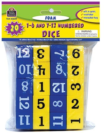 Foam Numbered Dice -- Case of 6