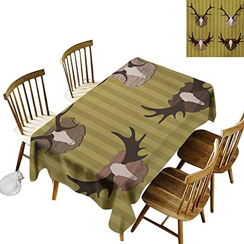 DUCKIL Stain-Resistant Tablecloth Hunting Deer and Moose Horns Trophy on Striped Background Mountain Cottage Print Easy to Clean W60 xL84