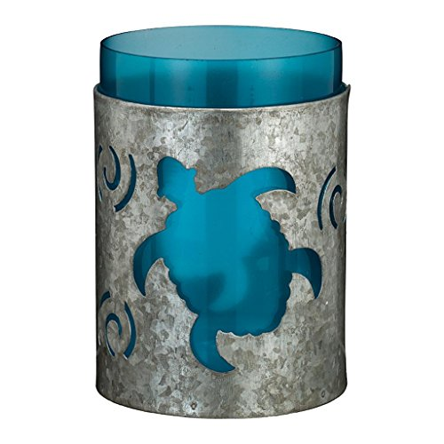 Regal Art & Gift Galvanized Candleholder 3.25 Inches x 3.25 Inches x 5.5 Inches Sea Turtle Home Decor