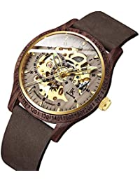 Bestn Men Watches, Wood Case Casual Lumious Automatic Mechanical Skeleton Wrist-Watch Genuine Leather Band (Golden...