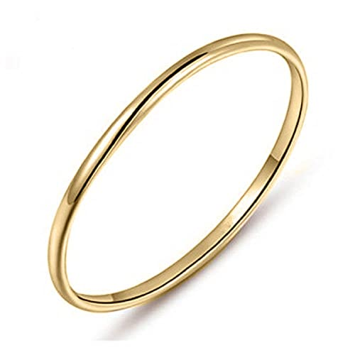 ef84e2d5f56025 tusakha 14K Yellow Gold Plated 1mm Thin Simple High Polish Comfort Fit Domed  Wedding Band Ring