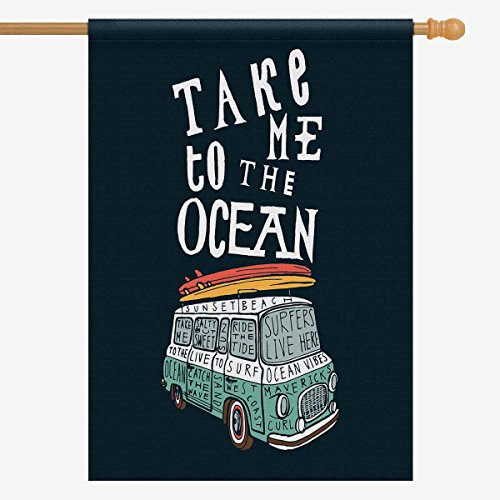 INTERESTPRINT Funny Quotes Take Me to The Ocean with Van and Surfboards House Flag House Banner, Decorative Yard Flag for Wishing Party Home Outdoor Decor, 28