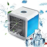 Beautyonline Personal Space Cooler Portable Air Cooler USB Mini Air Conditioner Humidifier and Purifier Desktop Cooling Fan with 3 Speeds and 7 Colors LED Night Light