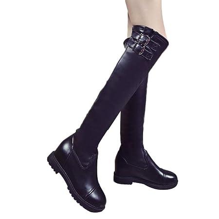 ZHRUI Stivali Militari da Ginocchio per Scarpe da Donna