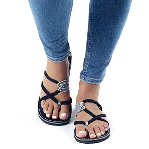 43 Casual Chaussures Juleya Tongs Femmes Noir Blanc Plage Toe Mode Flop Peep Chaussons Bandage Respirant Plates Antidérapant 36 Flip Sandales 4nzqZwO4rT