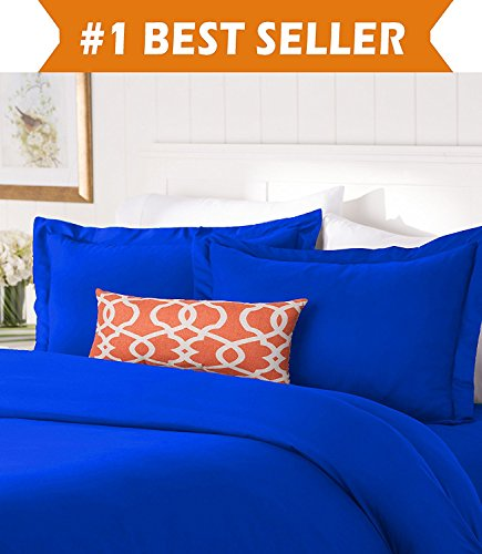 Royal Blue Comforter - Elegant Comfort #1 Best Bedding Duvet Cover Set! 1500 Thread Count Egyptian Quality Luxurious Silky-Soft Wrinkle Free 3-Piece Duvet Cover Set, Full/Queen, Royal Blue