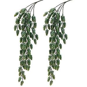 2 PCS Artificial Hops Hanging Bush Faux Hops Fake Hanging Vine Hops Artificial Hanging Plants for Party Front Porch Flower Decor 68